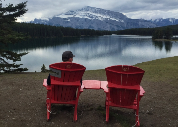 Chairs to ponder the reflections at Two Jack Lake. A good first find.