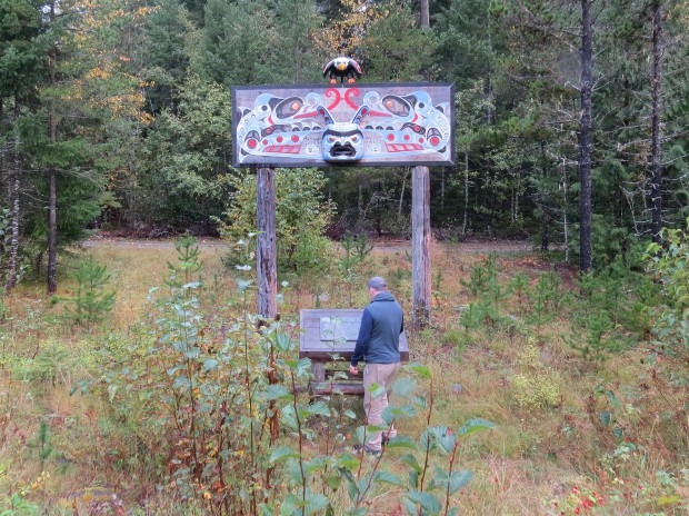 Memorial on the ancestral land of a Nuxalk man who drowned.
