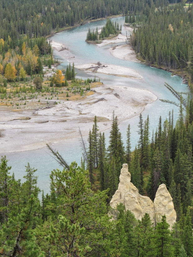 The hoodoos again and the Bow River which originates here in the Rockies and ultimately ends up in the Hudson Bay.