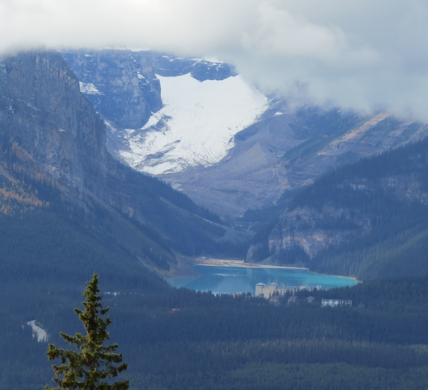 An amazing view over to Lake Louise and Victoria Glacier.