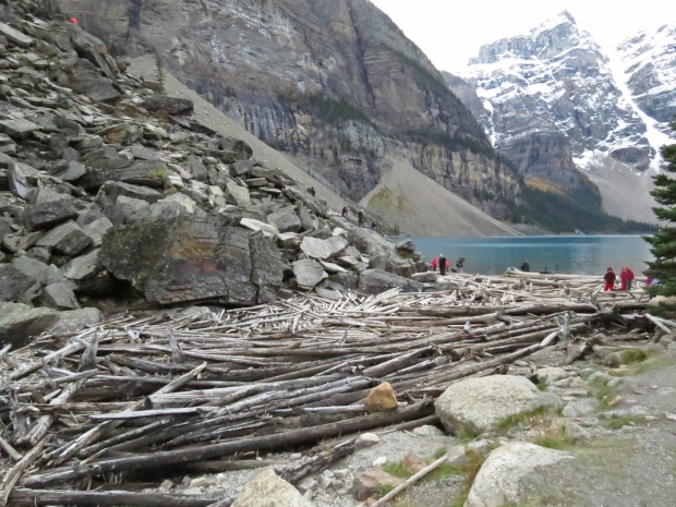 Across the log jam is The Rockpile, aka the lake's namesake moraine left behind by the glacier, where everyone clambers up for photos.