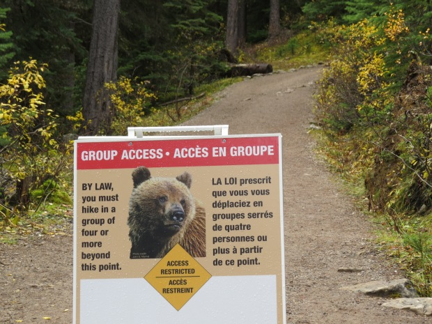 We walked a short way around the lake trail, past this turn-off with its safety notice.