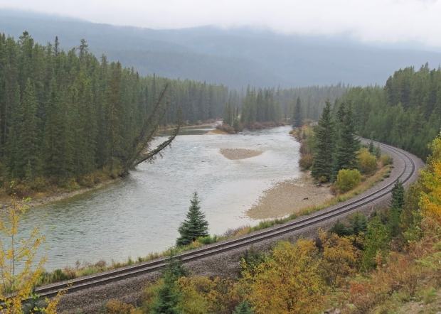 There are far more majestic photos of this location out there but a) aforementioned weather; b) no train obliged our timetable. This is Morant's Curve, which some say is the most famous location along the Canadian Pacific Railway.